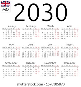 Simple annual 2030 year wall calendar. English language. Week starts on Monday. Sunday highlighted. No holidays highlighted. Raster copy