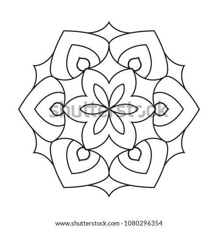 Simple Basic Easy Mandalas Coloring Pages Stock Illustration ...