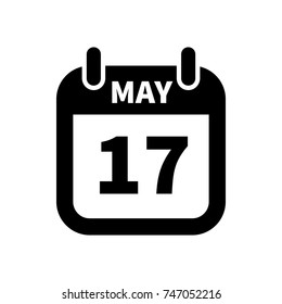 Simple black calendar icon with 17 may date on white