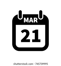 Simple black calendar icon with 21 march date on white
