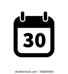 Simple black calendar icon with 30 date on white