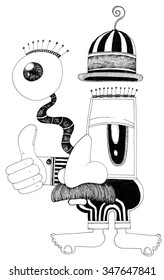 simple black on white drawing - funny cartoon man with big nose and big eyes