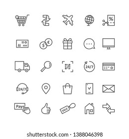 simple black thin line icons for ecommerce and shopping. concept of supply of goods by air plane, website advertising and transaction process on white. stroke style like modern ui logo graphic design