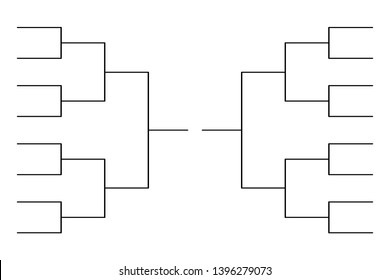Simple black tournament bracket template for 16 teams isolated on white