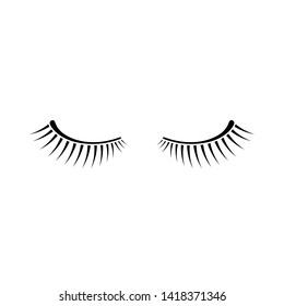 simple black two eyelashes icon on white background. concept of minimal logo of beauty salon or extension of hair. flat style trend modern logotype graphic art design