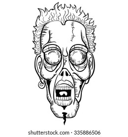 radioactive evil zombie logo icon vector stock vector royalty free Radioactive Superpowers simple black and white zombie face cartoon