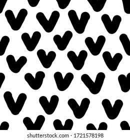 Simple black-white hearts seamless pattern. Manual graphics, curved lines, stripes. Scandinavian style, design for wallpaper, fabric, textile.