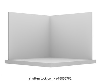 Simple blank empty stand or booth mock-up template. 3D rendering