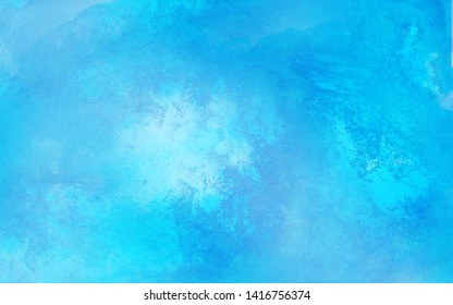 Simple blue shades color watercolor illustration. Sky aquarelle painted paper textured canvas for vintage design, invitation card, template. Creative background, smeared light turquoise frame