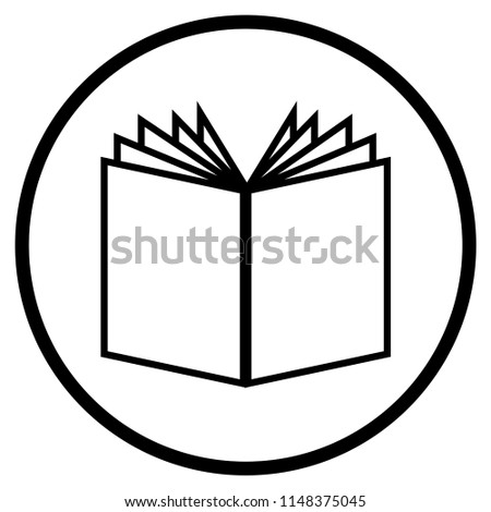 Simple Book Icon Circle Literature Reading Stock Illustration