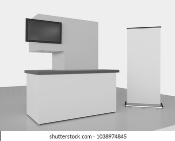 Simple Booth With Roll-up. 3D rendering