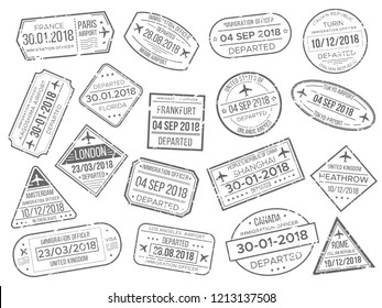 Simple business airport cachet mark and customs airplane passports control stamp. Foreign Japan UK Italy China Canada France travel and immigration passport official stamps  stamps sign set