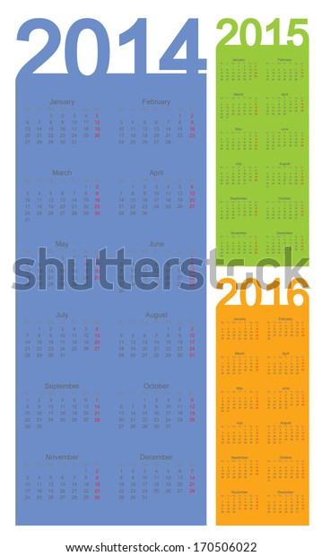 Simple Calendar year 2014, 2015, 2016