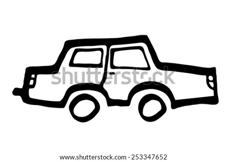Simple Car Drawing Silhouette Stock Illustration 253347652