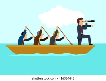 Simple cartoon of businessmen rowing the boat, teamwork, success, leadership concept, raster version