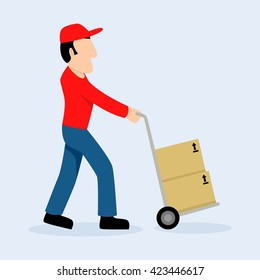 Simple cartoon of delivery man with push cart, raster version