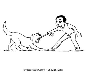 Simple cartoon line drawing of a boy playing tug of war with a dog and a knotted rope dog toy.  The dog is a light-colored Labrador or golden retriever.  The image is black and white.