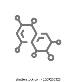 Simple chemistry formula and molecule line icon. Symbol and sign illustration design. Isolated on white background