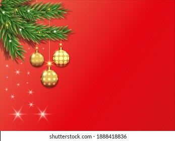 Simple Christmas background. The background is red, against the background of a Christmas tree with golden toys and sparkles. There is a place for text