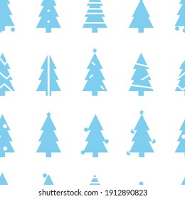 Simple Christmas  pattern with blue Christmas trees. Retro textile collection. On white background