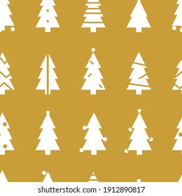Simple Christmas  pattern with Christmas trees. Retro textile collection. On golden background
