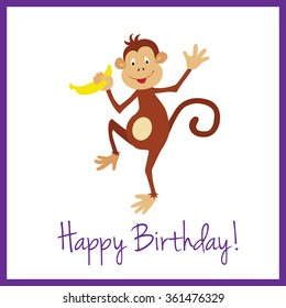 Simple And Clean Birthday Card With A Cute Monkey