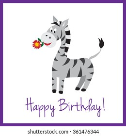 Simple And Clean Birthday Card With A Cute Zebra