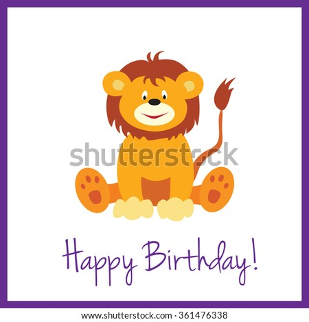 Simple And Clean Birthday Card With A Cute Lion Cub