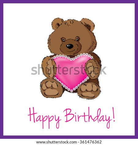 Simple Clean Birthday Card Cute Teddy Stock Illustration