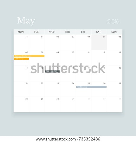 Simple Clean Editable May 2018 Event Stock Illustration 735352486