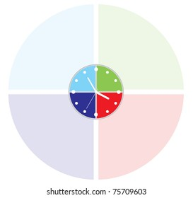 Simple clock made in the form of four quadrants of different colors