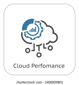 Simple Cloud Perfomance Line Icon with Gear Wheel and Graphs.