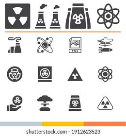 Simple collection of atomic related filled icons  about png signs for infographic, logo, app development and website design.  premium symbols isolated on a stylish background.