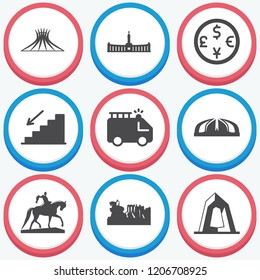 Simple collection of city related filled icons  about  signs for infographic, logo, app development and website design.  premium symbols isolated on a stylish background.