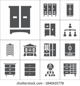 Simple collection of organized related filled icons  about  signs for infographic, logo, app development and website design.  premium symbols isolated on a stylish background.