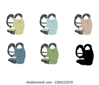 simple  colorful baby carrier (include silhouette)