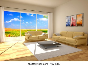simple countryside interior render