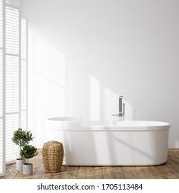 Simple cozy bathroom interior background, wall mockup, 3d render