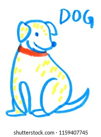 Simple cute cartoon dog painted in highlighter felt tip pen on clean white background
