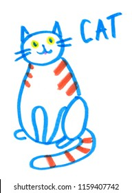 Simple cute striped cat painted in highlighter felt tip pen on clean white background