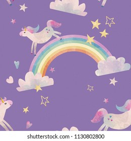 A simple cute watercolor pattern, the sky with a unicorn, a rainbow and clouds, small stars and hearts. Violet background