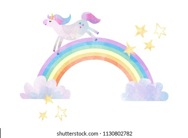 A simple cute watercolor print, the sky with a unicorn, a rainbow and clouds, small stars and hearts. Cute Unicorn
