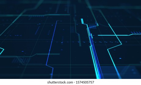 Simple and dark cyber background. Grid structure and glowing stripes surface concept. Abstract futuristic geometric illustration. Virtual network interface. High Quality illustration. Depth of Field