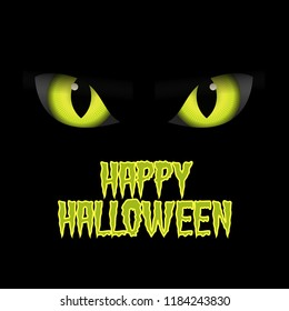 Simple dark halloween illustration poster banner card with scary animal eyes.