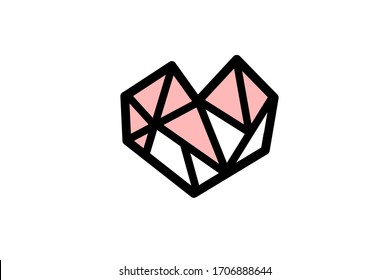 A simple design of a heart consisting of a lot of triangle fragments
