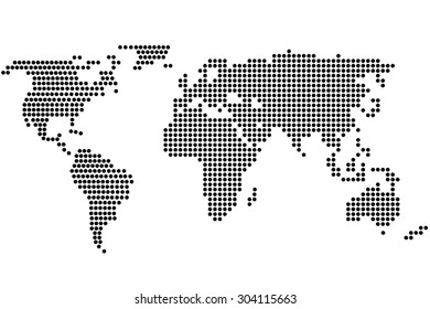 Simple digital world map of dots