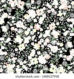 Simple ditsy cute pattern in small flower. Liberty style. minimal little Floral seamless background for textile or book covers, manufacturing, wallpapers, print, gift wrap- İllüstrasyon - İllüstrasyon