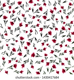 Simple ditsy cute pattern with small flowers. Freedom style minimal small floral seamless background - textile or book covers, manufacturing, wallpapers, prints, gift wrapping for