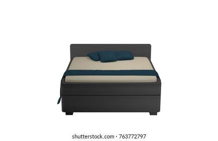 Simple double bed in heather gray with pillows and blanket. From front view, 3d rendering