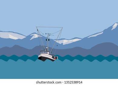 Simple drawing of a commercial fishing boat in Alaska.